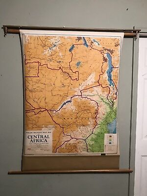 Vintage Central Africa School Pull Down Geography Map Display 1966 #30