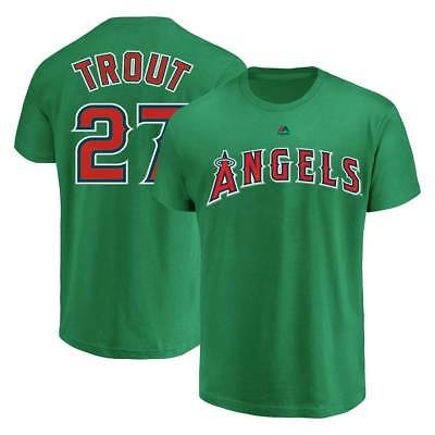 Majestic Mike Trout #27 Los Angeles Angels Player MLB T-Shirt Grün