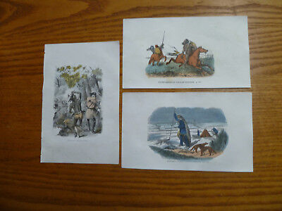 3 Engravings-North American Indians-Chippeway-Other Tribes-Hand colored-1860s
