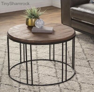 Reclaimed Wood Iron Coffee Table Pine Furniture Rustic Industrial Style  Cocktail