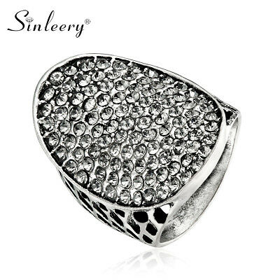Wholesale 10pcs Big Vintage Oval Gray Cubic Zirconia Ring Antique Sliver Plated