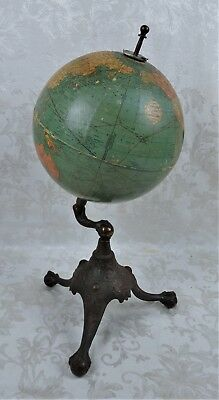 "Antique 1920's Replogle 10"" Globe on RMN Cast Iron Claw Foot Base"
