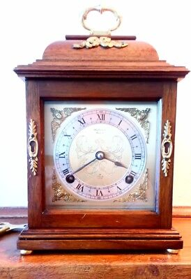 F W Elliott bracket clock striking on bell and in excellent condition.