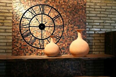 Handmade Large Wall Clock Wrought Iron Roman Numerals Black Industry Wall Clock