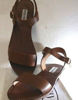 493f140a8a4 Steve Madden Donddi Tan Leather Upper Sandals With Buckled Ankle Strap-New  Size8
