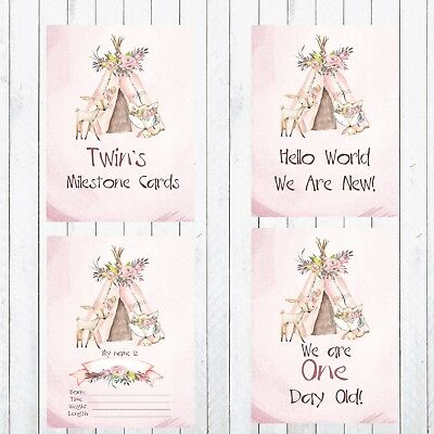 Twin Milestone Cards, 4x6 Photo Prop, 24 cards, Woodland Animals