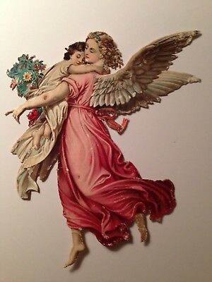 Antique Victorian Scrap Flying Angel With Child