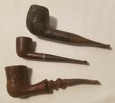 Vintage Lot Of 3 Assorted Tobacco Smoking Pipes Estate