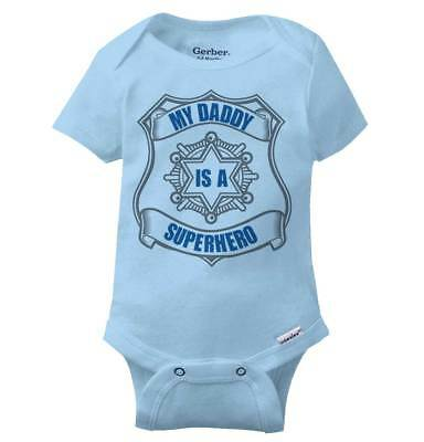 abcb90924 My Daddy Is A Superhero Gerber Onesie | Cop Police Officer Hero Baby Romper