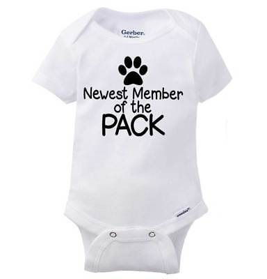 Newest Member Of The Pack Gerber Onesie Pets Dog Puppy Announcement Baby Romper