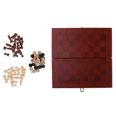 Portable Chess Accessories PU Leather Folding Chessboard & Wood Chess Pieces