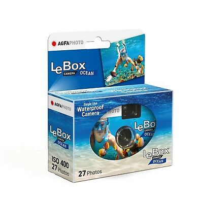 Agfa LeBox Ocean Waterproof Single Use Disposable Camera with 27 Exposures
