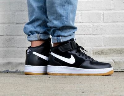 promo code 2f126 7ec02 MENS NIKE AIR Force 1 One Mid Sneakers New, Black  White Gum 315123-035  9.5 - 117.60  PicClick