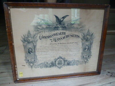 Antique Original Civil War Commonwealth Of Mass. Military Service Cert 1870