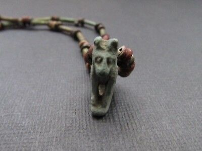 NILE  Ancient Egyptian Anubis Amulet Mummy Bead Necklace ca 600 BC