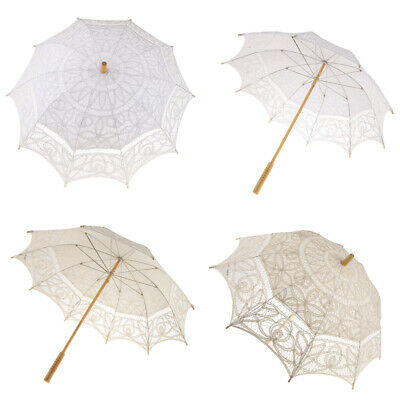 Vintage Batternburg Lace Parasol Sun Umbrella Wedding Bridal Decor White/Beige