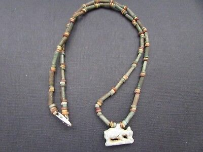NILE  Ancient Egyptian Sow Amulet Mummy Bead Necklace ca 600 BC