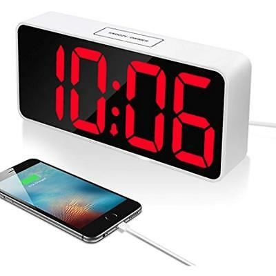 """9"""" Large Clock Radios LED Digital Alarm With USB Port For Phone Charger, Snooze"""
