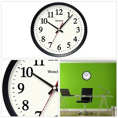 Black Electric Wall Clock 14 in. Round Glass Lens Battery Backup Quartz Movement