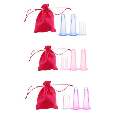 4pcs Silicone Anti Cellulite Massage Vacuum Cupping Body Facial Cups Therapy