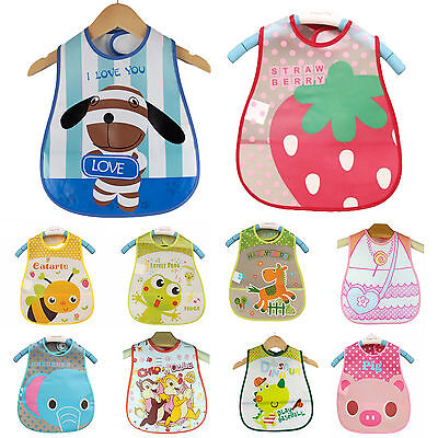 Baby Kids Boys Girls Waterproof Bibs Toddler Apron Smock Plastic Feeding Saliva