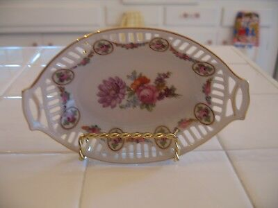 Beautiful Vintage Hand Painted Floral Roses Trinket Dish With Cut Outs Germany