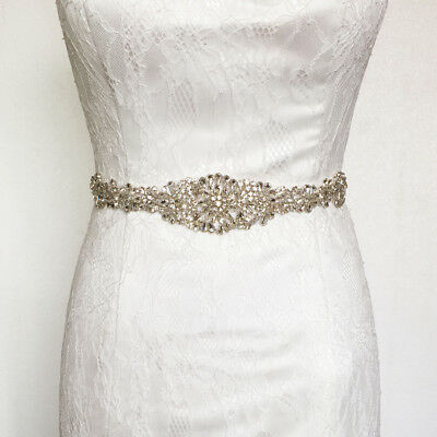 Glitter Crystal Wedding Dress Belt Bride Bridesmaid Party Diamante Applique Sash