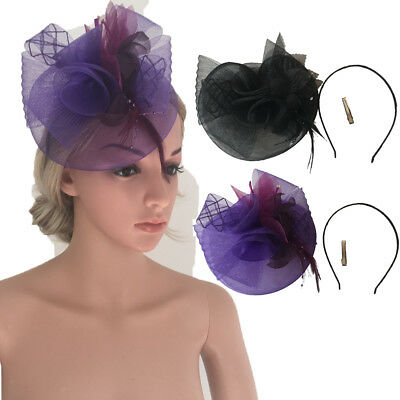 Feather Headband Mesh Hat Fascinator Wedding Lady Day Race Royal Ascot Headpiece