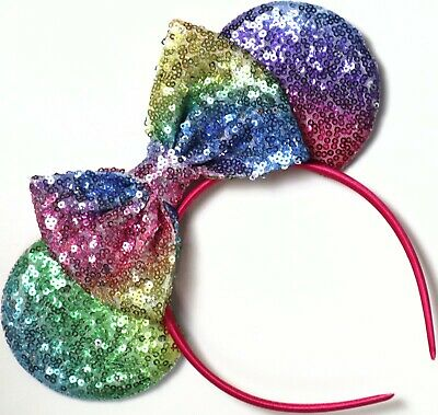 Disney Inspired Gay Days Pride Minnie Mouse Sequin Pastel Rainbow Ears Headband