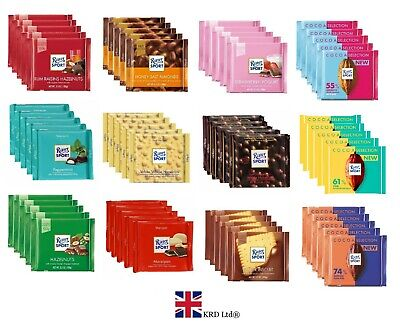 5 x Genuine RITTER SPORT CHOCOLATE 100g Bars Pack of 5 Assorted Flavour Box UK