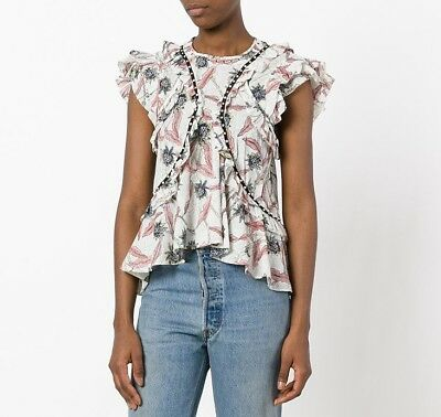 3321c1a4213 NWT ISABEL MARANT Ruffled Floral Print Unice Embellished Cotton Top Blouse  Ecru