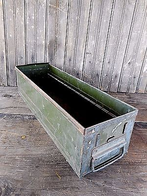 Vintage Metal Box Drawer Storage Industrial Rustic Primitive Decor Farm Garden
