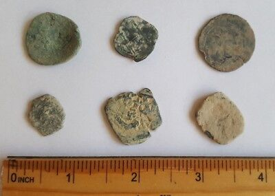 Authentic Ancient Spanish Pirate Copper Maravedis Cob Uncleaned Coins Set of 6