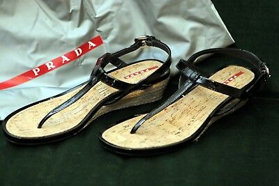 3d72a7921b8 PRADA Strappy Black Patent Leather Cork Wedge Heel Sandals US Size 8 (38)