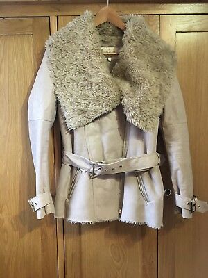 River Island Beige Faux Leather Suede Fur Coat Jacket Size 8