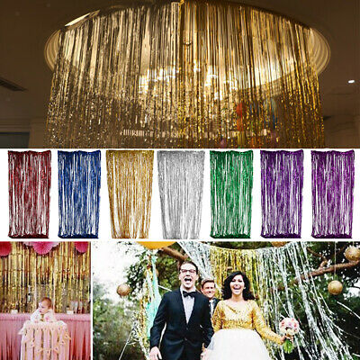 2/3Meter Glitter Tinsel Foil Fringe Window Curtain Party Backdrop Photo Props