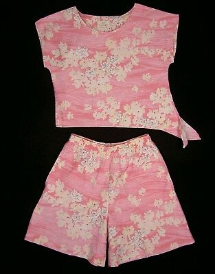 Vintage Sun Fashions Tie Top & High Waist Shorts S M Hawaii Pockets Pink USA