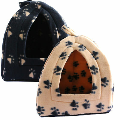 Soft Pet Bed Cosy Polyester Pad Pyramid Pet Hut Black Beige Machine Washable