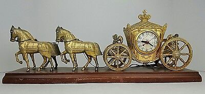 Vtg United Clock Horse & Carriage Cherubs Brass Tone Electric Mantel Clock Parts