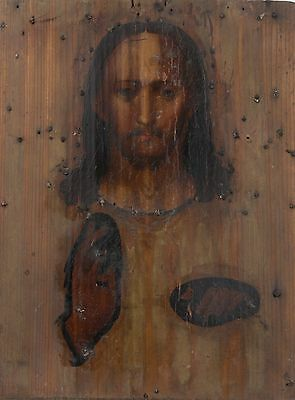 Antique Icon Ikon Jesus Christ Orthodox Russian Empire Wood 230x300mm
