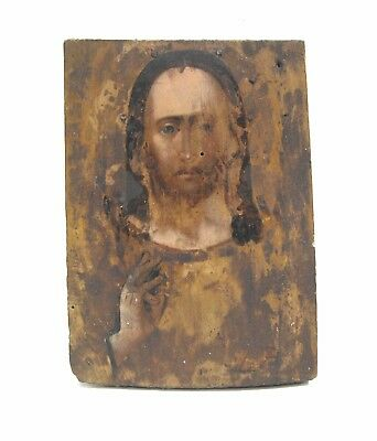 Antique Icon Ikon Jesus Christ Orthodox Russian Empire Wood 180x130mm