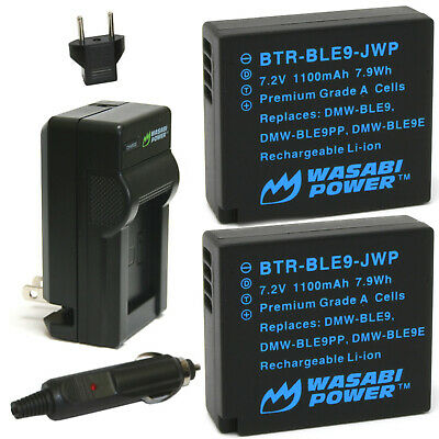 Wasabi Power Battery (2-Pack) and Charger for Panasonic DMW-BLE9 and DMW-BLG10