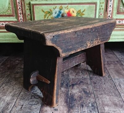 Antique Rustic Vintage Old Wooden stool Seat Chair Original dark wood small