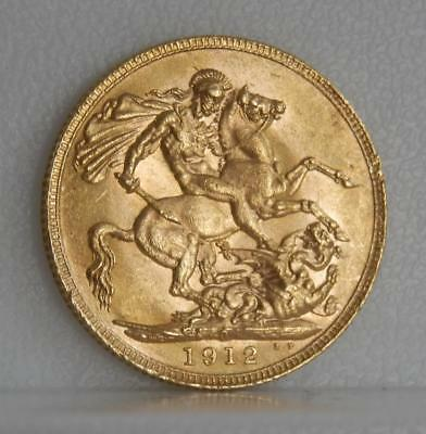 Australia Uncirculated 1912-P Sovereign .9170 Gold Coin Perth Mint C0899