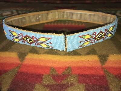 1 x 24 native american beaded leather hat band belt US flag birds indian blanket