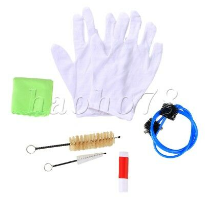 Trumpet Trombone Tuba Horn Cleaning Kit Tool with Cleaning Cloth Brush Gloves
