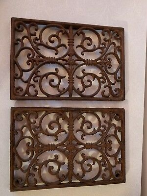 "Set of 2 Rectangular Cast Iron Decorative Wall Panel Vent Radiator Grate 11""X 8"""