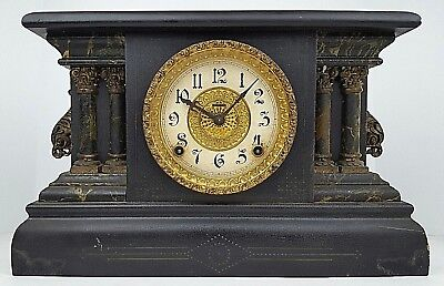 Antique Ingraham Ornate Column Black Mantle Clock Parts & Repair No Key Feet Off