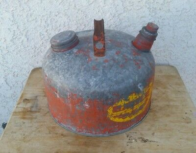 Vintage Red/Yellow Eagle Galvanized Steel Gas Can 2.5 Gal Double Cap USA