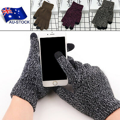 Women Men Winter Warm Touch Screen Gloves Soft Knit Wool Lined Texting Mittens
